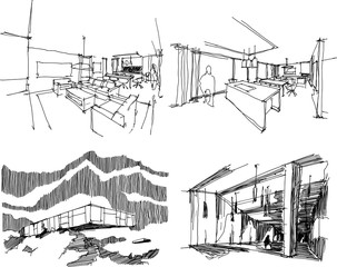 four hand drawn architectectural sketches of a modern abstract architecture and interiors