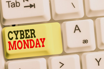 Handwriting text Cyber Monday. Conceptual photo Marketing term for Monday after thanksgiving holiday in the US White pc keyboard with empty note paper above white background key copy space