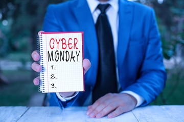 Text sign showing Cyber Monday. Business photo text Marketing term for Monday after thanksgiving holiday in the US Man holds empty paper with copy space in front of him