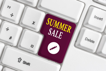 Handwriting text writing Summer Sale. Conceptual photo Annual discount events that takes place during summer season White pc keyboard with empty note paper above white background key copy space