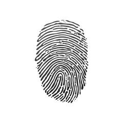 Black fingerprint shape. secure identification. Stock Vector illustration isolated on white background