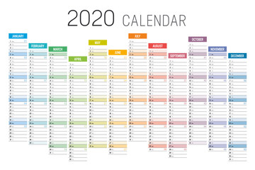 Colorful 2020 horizontal unaligned calendar