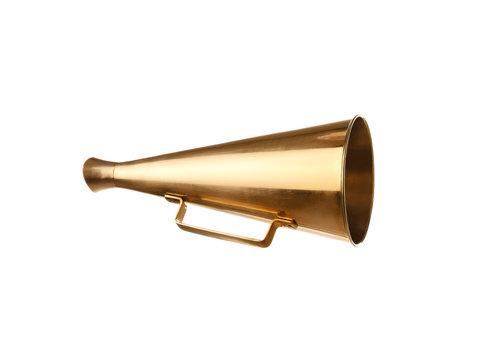 Retro golden metal megaphone on white background