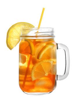 Mason jar of refreshing iced tea with lemon slices on white background