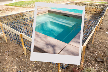 Swimming Pool Construction Site with Picture Photo Frame Containing Finished Project