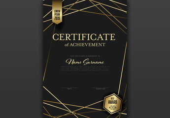 Black and Gold Certificate Layout