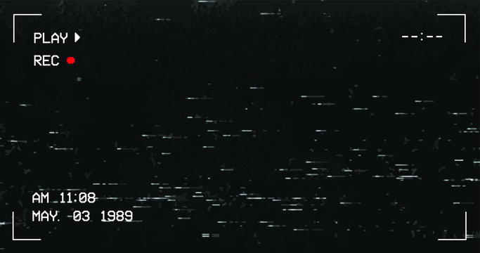 Glitch camera effect. Retro VHS background. Old video template. No signal. Tape rewind. Vector illustration. - Vector - Vector