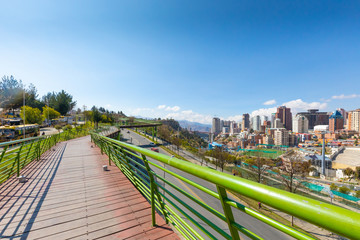 Bolivia La Paz elevated pedestrian walkway of the central urban park