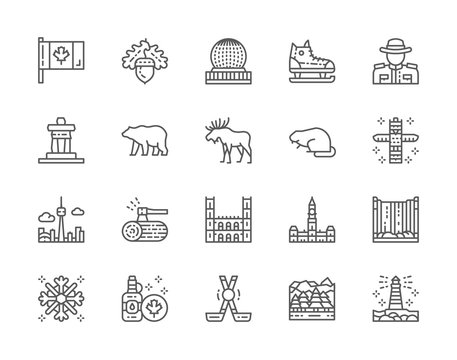 Set of Canadian Culture Line Icons. Sports Equipment, Police, Bear, Elk and more