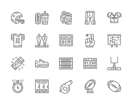 Set of American Football Line Icons. Scoreboard, Fast Food, Uniform and more.