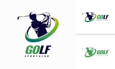 Golf Shield Logo designs, Golf Sport Silhouette Logo Design Template
