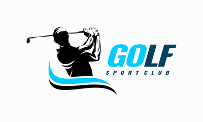 Golf Sport Silhouette Logo Design Template