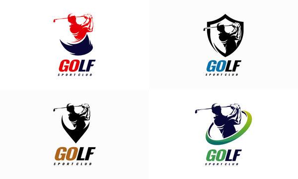 Set of Golf Sport Silhouette Logo Design Template, Golf Logo badge template