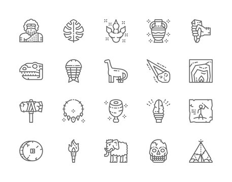 Set of Prehistoric Age Line Icons. Neanderthal, Dinosaur, Primitive Axe and more