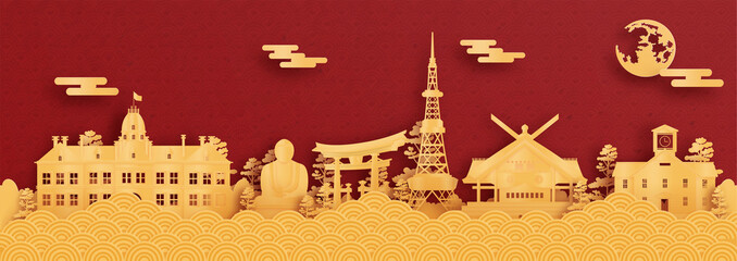 Wall Mural - Panorama postcard and travel poster of world famous landmarks of Sapporo, Japan in paper cut style vector illustration