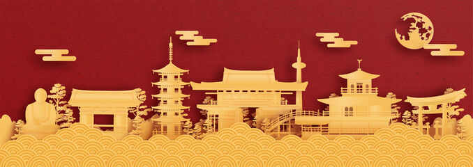 Wall Mural - Panorama postcard and travel poster of world famous landmarks of Kyoto, Japan in paper cut style vector illustration