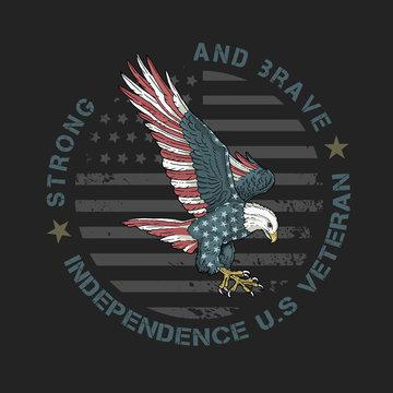 veteran american eagle illustration vector