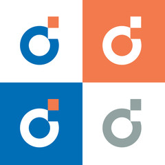 Fototapeta Digital letter d logo template, d  letter pixel logo design - Vector obraz