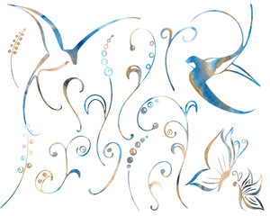 Watercolor floral winter elements And bird silhouettes swallows for wedding invitation, card making