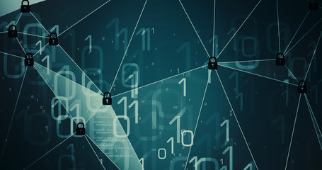 Computer algorithm creative illustration cybersecurity IT