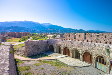 Wall Mural - Scenic view of Venecian fortress Rio castle in Greece, near Rio-Antirio Bridge crossing Corinth Gulf strait, Peloponnese, Greece