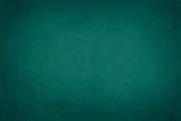Working place on empty rubbed out on green board chalkboard texture background for classroom or...