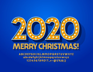 Vector Merry Christmas 2020 Greeting Card. Original bright Font. Electric lamp   Alphabet Letters and Numbers.
