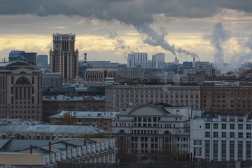 View of Moscow on a cold autumn morning.