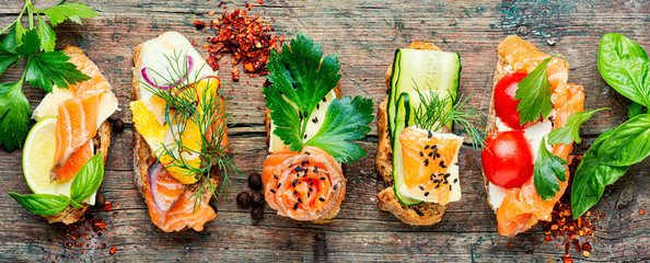 Toasts with salted salmon