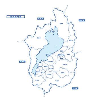 滋賀県地図 シンプル白地図 市区町村