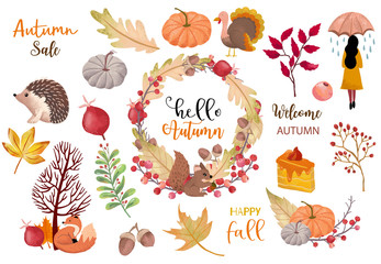 Autumn object collection with pumpkin,hedgehog,woman.Illustration for sticker,postcard,invitation,element website.Included hello autumn and happy fall wording