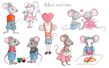 Set of mice and rats, watercolor illustrations. Hand drawn. Isolated on white.