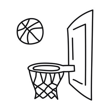 Basketball ball and basket. Vector icon, doodle illustration on white background.