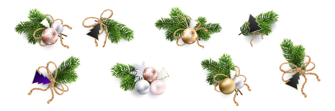 Christmas decoration. Xmas Bouquets and wreaths