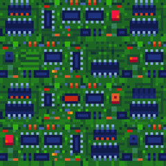 Chip texture tile seamless pattern for pixel art style game, high tech circuit , microcircuit technology abstract background, microchip, knitted design. Isolated vector illustration. 8-bit.