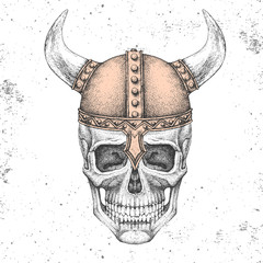 Hand drawing hipster skull with viking helmet on grunge background. Hipster fashion style
