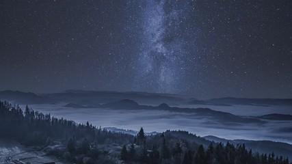 Fototapete - Milky way in the Tatra Mountains at night, Poland
