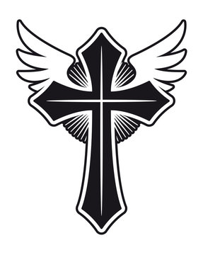 Vector catholic christian cross with wings. Isolated on white background