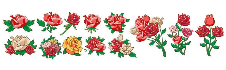 rose vector set clipart design