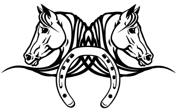 decorative heads of Arabian white horses in profile with horseshoe. Logo, icon, emblem, tattoo style vector illustration