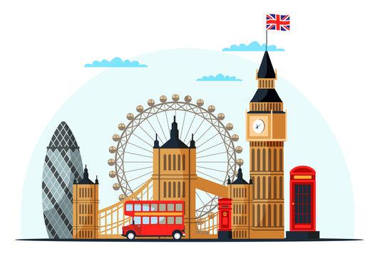 London cityscape flat vector color illustration