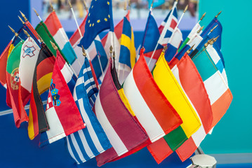 Small flags of the member states of the European Union