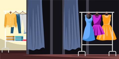 Empty apparel store flat vector illustration