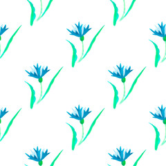 Beautiful watercolor illustration with watercolour blue cornflower on white background. seamless pattern. Watercolour illustration. Watercolor botanical illustration.
