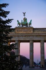 Printed roller blinds Berlin brandenburg gate at sunset christmas