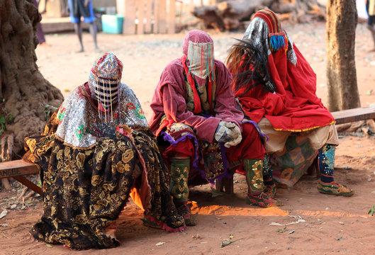 Ceremonial mask dance, Egungun, voodoo, Africa