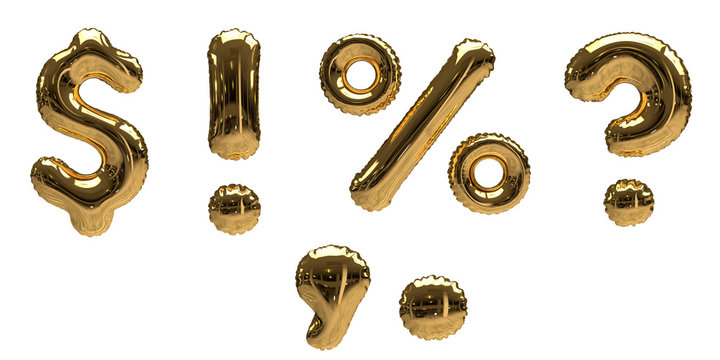 Gold Foil Helium Balloon Symbols (Question Mark, Exclamation Mark, Percentage, Dollar,  Comma, Dot) isolated on a white background