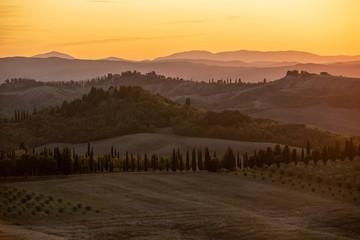 Spoed Foto op Canvas Chocoladebruin Tuscany countryside panorama on sunset, Italy.