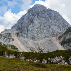 Mount Mangart in the Julian Alps. West Wall, taken from Mangart Saddle, Mangartsko sedlo. Triglav National Park on border between Slovenia and Italy