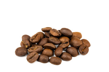 Close up of a coffee bean, Roasted coffee beans isolate on white background